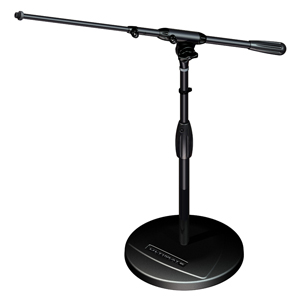 [US-TRBSTT] Tour Series Mic Stand with Black Chrome Finish, Modular Base Design, and Quarter-turn Clutch - Round Weighted Base/Short Height/Telescoping Boom