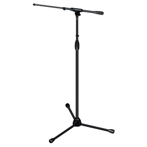 [US-TTT] Tour Series Mic Stand with Black Chrome Finish, Modular Base Design, and Quarter-turn Clutch - Tripod Base/Standard Height/Telescoping Boom