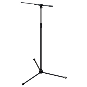 [US-TTTaT] Tour Series Mic Stand with Black Chrome Finish, Modular Base Design, and Quarter-turn Clutch - Tripod Base/Tall Height/Telescoping Boom